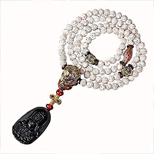 DSHBB Hölzerne Rosenkranz Armbänder, Natürliches Xingyue Bodhi Perlen Armband Mit Obsidian, Für Männer Und Frauen Unisex Perlen (Hölzerne Männer Armbänder)
