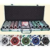 SET 500 PEZZI POKER FICHES FISH CHIPS AL LASER con VALIGETTA TEXAS HOLD'EM