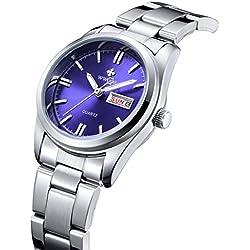 Damen Datum Kalender Uhr Damen Fashion Casual Edelstahl Uhren weiblich casua Armbanduhr Blau