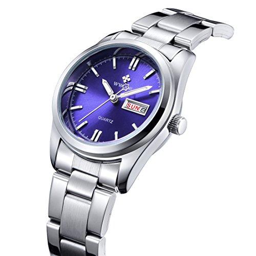 Damen Datum Kalender Uhr Damen Fashion Casual Edelstahl Uhren weiblich casua Armbanduhr Blau (Kalender Unternehmen)