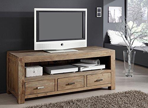 SAM® Longboard Saber 6618 aus Akazienholz, Sideboard stonefarben, massiv, 3 Schubladen, 2 große Ablageflächen, viel Stauraum