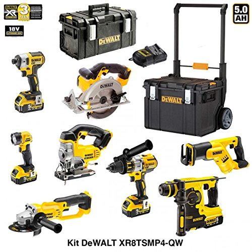 Preisvergleich Produktbild DEWALT Kit XR8TSMP4-QW 18V (DCF887 + DCL040 + DCG412 + DCD996 + DCH253 + DCS331 + DCS391 + DCS387 + 4 X 5,0 Ah + DCB115 + DS 300 + DS450 DWST1-75668)