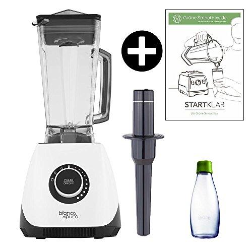 Bianco Panda weiß Hochleistungs-Mixer/Standmixer + Thermometer-Stampfer + Smoothie-Flasche + Grüne-Smoothies-Startklar-Guide (Smoothie Maker mit 30000 Umdrehungen/min. 1400 Watt)