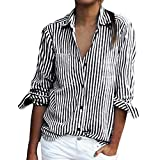 OverDose Damen Casual Gestreift Hemd Frauen Fashon Striped Langarm lose Bluse T-Shirt Tops Oberteile(C-Gray,EU-42/CN-XL)
