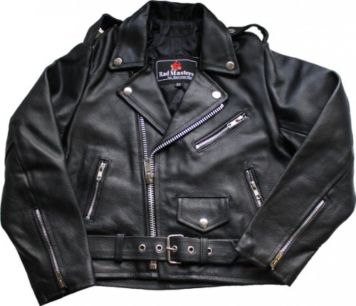 German Wear Kinder Motorradjacke Rockerjacke Chopper Brando Lederjacke, 5XL / 152-158
