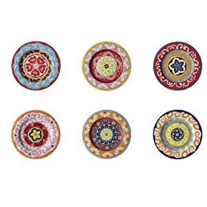 Rose & Tulipani Set mit 6Salattellern, mediterranes Design