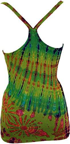 Guru-Shop Batik Hippie Top, Tank Top, Damen, Grün, Synthetisch, Size:38, Tops, T-Shirts, Shirts Alternative Bekleidung Grün