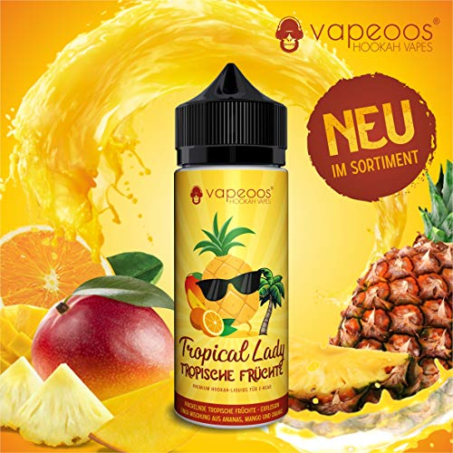 VAPEOOS Premium E-LIQUIDS | TROPICAL LADY I Ananas, Mango & Orange | 100ml für E-Zigaretten und E-Shishas | 0mg (ohne Nikotin) I Made in Germany!