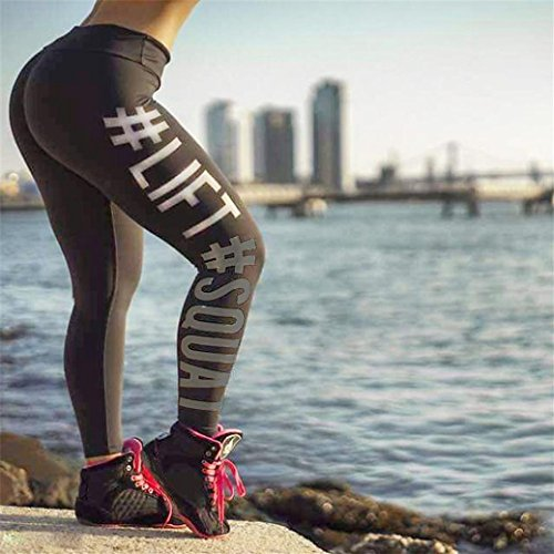 Rawdah Femmes Fitness Taille Haute Leggings Sports Gym Running Yoga Athletic Pants Gris foncé