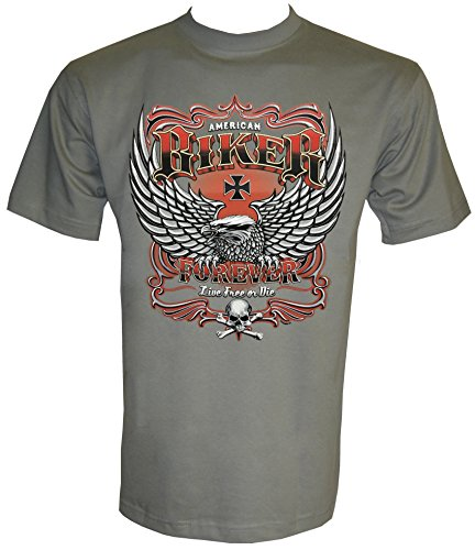 Biker Chopper Eagle Rocker MC T-Shirt in Größe S bis 5XL Zinc