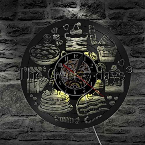 ZKMQF 1 stück Kuchen Schallplatte wanduhr kreative led-leuchten Dekoration wandkunst süßigkeiten bäckerei Geschenke