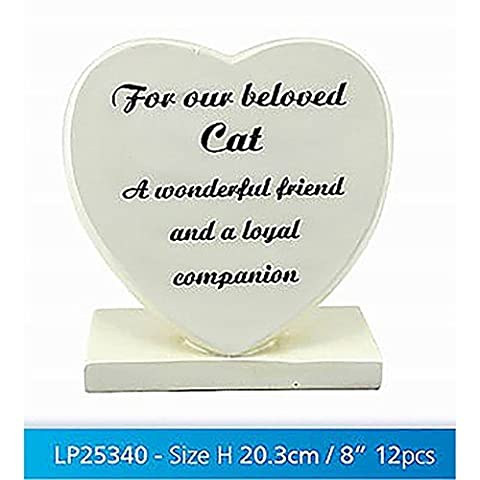 In Loving Memory Cream Heart Graveside Memorial Ornament Our Cat
