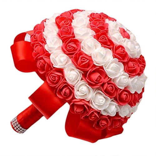 Coloré(TM) Roses de cristal perle demoiselle Bouquet de mariage de demoiselle d'honneur de roses de cristal Fleurs de soie artificielles de mariée (Rouge)