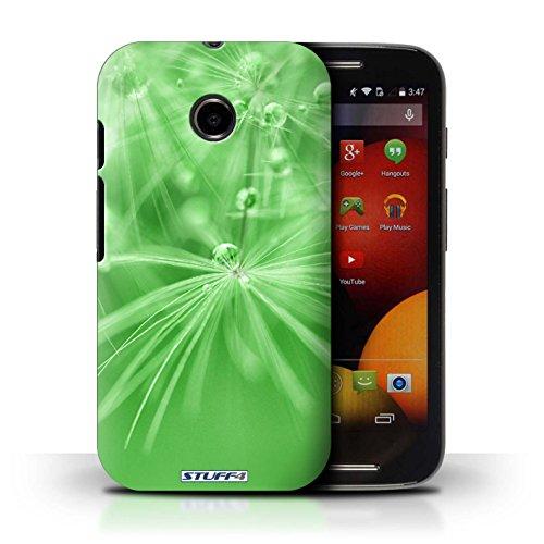 Kobalt® Imprimé Etui / Coque pour Motorola Moto E (2014) / Fleur Vert conception / Série Gouttes de Fées Fleur Vert