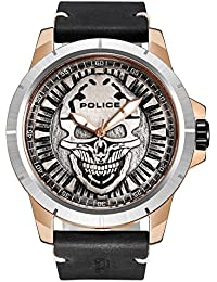 Police Men's Quartz Watch with Silver Dial Analogue Display and Black Leather Strap 14385JSRS/57