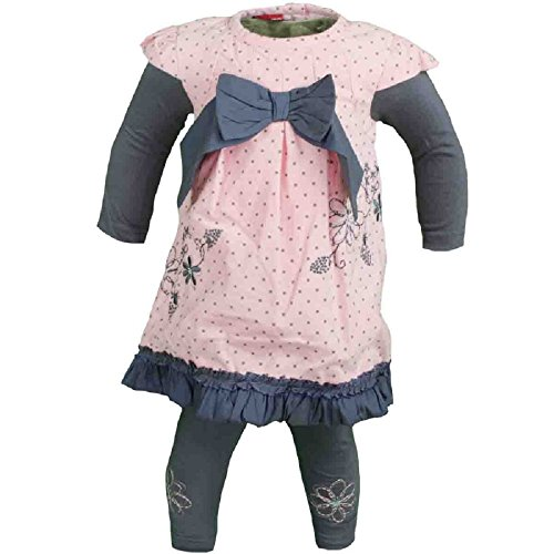 Tom Kids Mädchen Baby Set Leggins Cord-Kleid festlich mit Schleife 2in1-Look rosa K3 (74) Cord Kleid Set