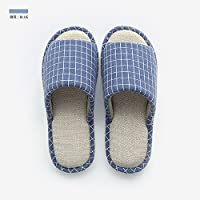 fankou Slippers Women Indoor Summer Home Anti-Slip Cotton Linen Slippers Male Couples Home Floor Slippers,220 [21CM], Dark Blue
