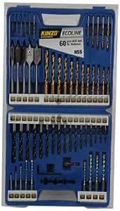 Kinzo 72156 Malette assortiment de forets 60 pièces Qualité acier rapide