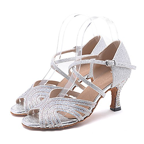 ern Swing Schuhe Glitzer Sandalen Absätze Leistung Professionell Strass Glitter Schnalle Keilabsatz Silber Rosa Silver US8 / EU39 / UK6 / CN39 (Silber Glitter Stiefel)