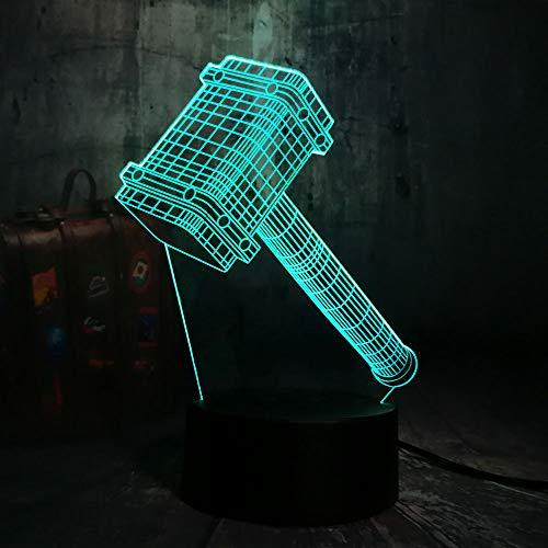KangYD Raffreddare Big Hammer 3D Luce Notturna Visiva, Multicolore, LED Lampada Da Scrivania Regalo, Touch 7 Colore Base Base Nera), Acrilico, Regalo Di Natale