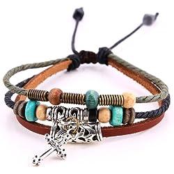 Morella pulsera de cuero trenzada con anillos abalorios y colgante