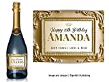 PERSONALISED gold effect baroque style shabby chic Champagne label – Birthday, Wedding any occasion gift (Gold / Gold)
