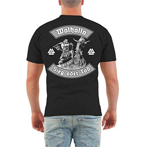 Männer und Herren T-Shirt Walhalla Sieg oder Tod (mit Rückendruck) Größe S - 8XL Schwarz