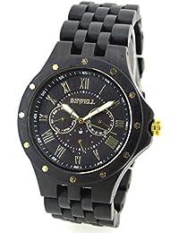 BEWELL hombres reloj de cuarzo de lujo para hombre Multifuncional correa de madera reloj de pulsera