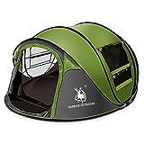 Pop Up Zelt, 3-5 Personen Familienzelt Zelt Camping Automatische Set Up Instant Zelt, Wasserdichte, 290x200x130 cm (Grün)