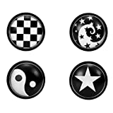 Unisex Schwarz und Weiß Edelstahl Ohrstecker Set - Inklusive 4 Paar Ohrstecker mit Stern, Wirbel, Schachbrett und Yin & Yang Designs - Ohrringe für Männer und Frauen, 8