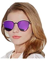 LVIOE Lunettes de soleil Vintage Cat Eye pour femmes, monture en métal,  verres polarisés 57580d4d58f1