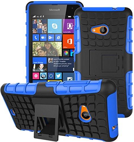 Microsoft Nokia Lumia 535 Hülle Nnopbeclik Hybrid 2in1 TPU+PC Schutzhülle Cover Case Silikon Rüstung Armor Dual Layer Muster Handytasche Backcover 360-Grad-Drehung ständer stoßfest Handy Hülle Tasche Schutz Etui Schale Bumper Pour Microsoft Nokia Lumia 535 5.0 Zoll [Schwarz+Blau]