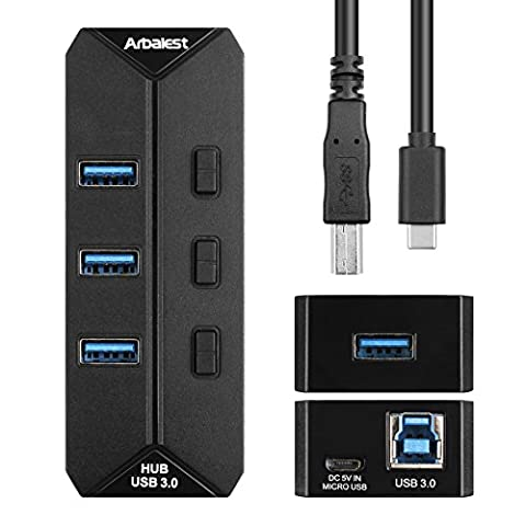 Arbalest Plugable Hub USB 3.0 4 Ports Indépendant Externe Interrupteur On/Off avec 100cm Type C (Dispositivo Usb Mass Storage Device)