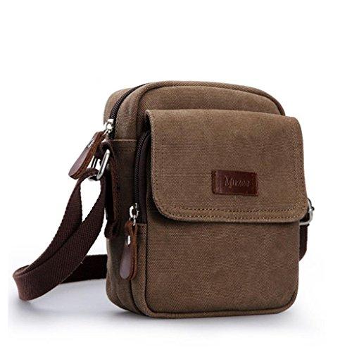 DELLT-Schulterbeutel der Männer Segeltuchtasche kleinen Rucksack Outdoor-Sport und Freizeit Retro Messenger Tasche Mann Tasche Brown (reichen)