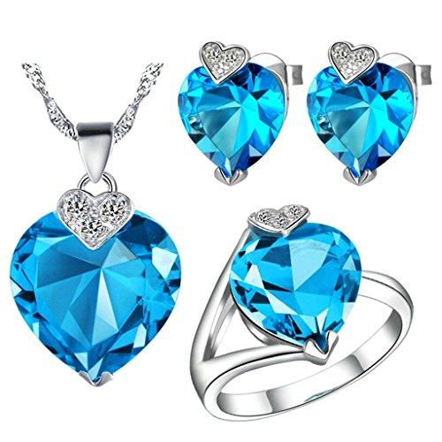 AieniD Conjunto de Collar Anillos y Aretes Chapado en Plata Colgantes Corazón Solitaria Joyas de Moda, Azul Tamaño