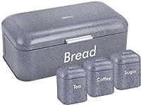 Kinghoff Rangement de cuisine de 4pièces comprenant Huche à pain Thé café sucre Caddy Boîtes conteneurs Boîtes Boîtes de rangement Ensemble de pots