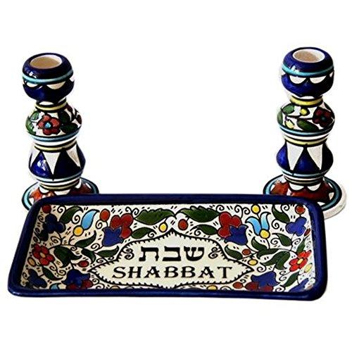 Heiligen Land Markt Sabbat-Set-Bunt Keramik Leuchter mit Passende Teller für Sabbat und Urlaub -
