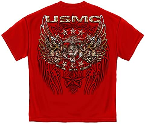 US Marine Corps Short Sleeve Shirts, 100% Cotton Casual Mens Shirts, Show Your Pride With Our Pride Duty Honor Stars Silver Foil Hunden Unisex T-Shirts for Men or Women