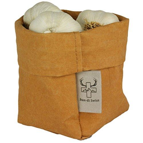 bun-di Swiss® - KREMPELBOX S | Utensilo, Stiftehalter, Paper-Bag, Aufbewahrungskörbchen, Deko-Übertopf, Geschenkbox | Waschbares Papyr mit Lederoptik (Veganes Leder) | Ø 10cm - Braun