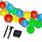 TurnRaise Lampion Solar String, 4.8m 20LED Wasserfest Lampions für Garten Party (Multi-colored)