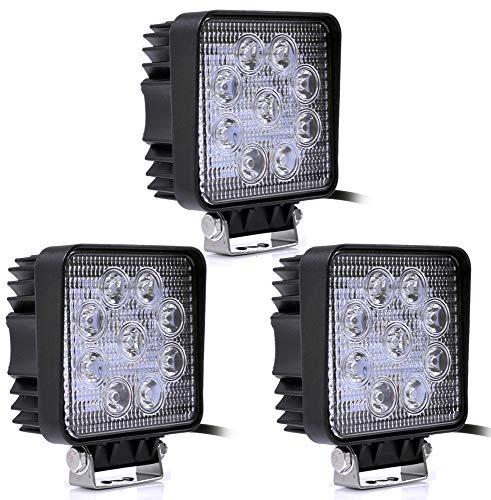 Preisvergleich Produktbild Leetop 3X 27W Quadrat LED Arbeitsscheinwerfer 12V 24V Offroad Flutlicht Arbeitslicht 2500LM IP67 Auto Scheinwerfer Lampe 6500K Weiß