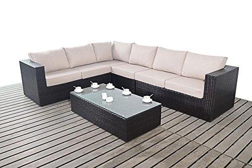 Moderne große Garten Eckregal, 3Modular 2-Sitzer-Sofas mit Glas Couchtisch, Dicke Sitz-Kissen, Gartenmöbel Sets