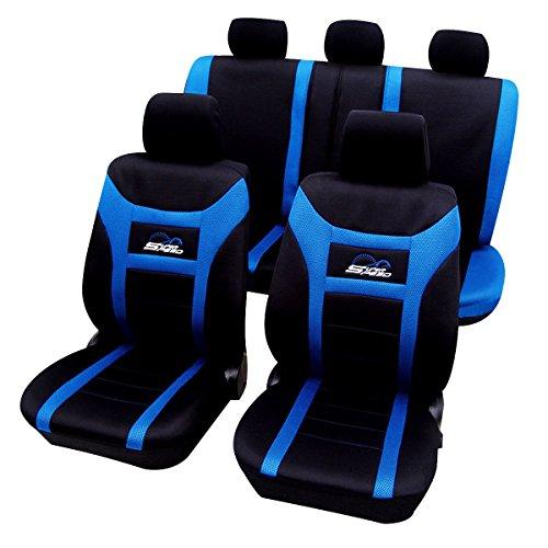 WOLTU AS7260 Set Completo di Coprisedili Auto Seat Cover per Macchina Universali Protezione per Sedile di Poliestere Moderni Blu+Nero