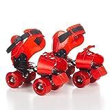 Beauty leader Pattini a rotelle regolabili per bambini Pattini a doppia fila Quad Skate Pattinaggio a rotelle a quattro ruote per bambini, red, free size