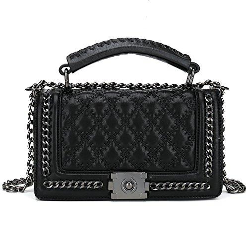 Belle Vannes Damen Designer Gesteppte Schultertasche aus Leder mit Kette und Henkel Tasche Umhaengetasche Damentaschen Handtasche