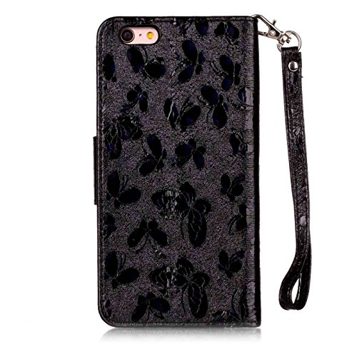 iPhone 7 Leder Hülle,iPhone 7 Glitzer Case,TOYYM Ultra Dünn Laser Muster Design Bling PU Leder Flip Cover Wallet Case mit Stand Funktion Karteninhaber Magnetverschluss,Folio Bookstyle Brieftasche Hand Schwarz