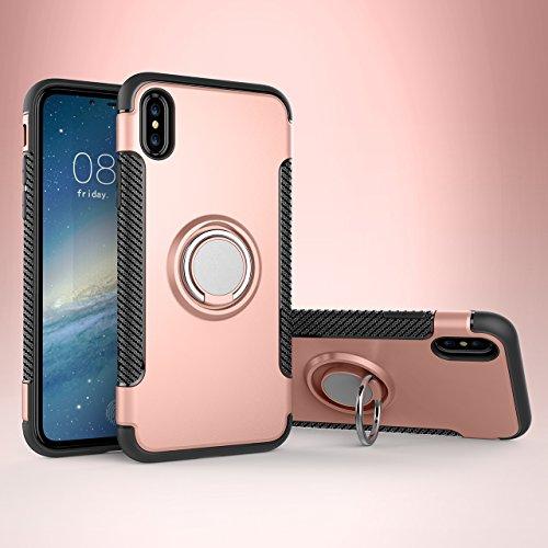 iPhone X Hülle, iPhone X Schutzhülle 360° Kickstand Magnetic Premium Silicone Bumper Case, Silikon TPU + PC Farbschichtschutz Handyhülle mit 360° Drehbarem Metallhalter, Tasche mit Grip Ring Halter, M RoseGold