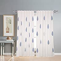 Linenwalas 2 Piece Hand Block Blue Leaf Print Cotton Window Curtain (Set Of 2) - White - 5Ft.These Hand Block Printed Curtain Set Add A Rich And Luxurious Feel To Your Room. The Fabric Is Heavy And The Drop Is Elegant. The Width Is Big Enough For Gre...