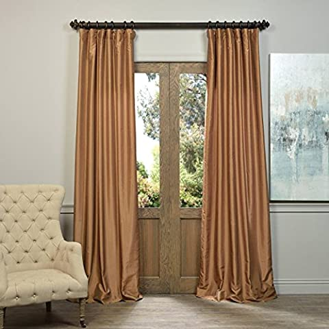 Vintage con textura imitación de Dupioni sintética bolsillo de la barra cortina Panel par tamaño: 108cm H x 50cm W, color: