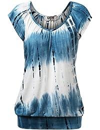 DJT Damen Casual Tunika Kurzarm Langarm T-Shirt Falten Tops mit Stretch V-ausschnitt